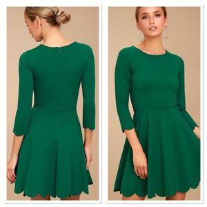 Lulu's Green Scalloped Skater Dress